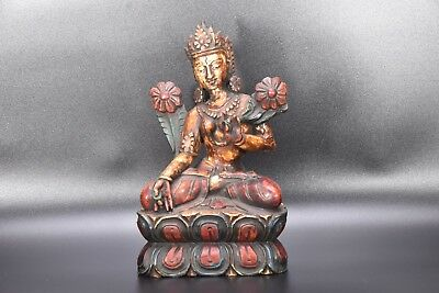 Wooden Antique Green Tara Goddess Statue rare vintage old Handmade carved, Nepal