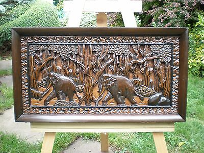Very Large Black Forest Relief Carved Picture of Elephants