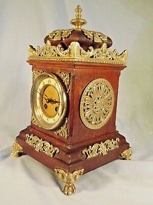 19c French Oak/Brass Mantel Clock C1890.