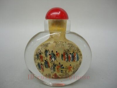 Collected Lovely China Glass Manual Painting People Play Figure Snuff Bottles