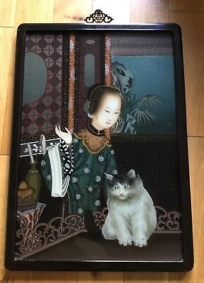 Large Old Vintage Chinese Reverse Glass Painting Of A Girl With Cat
