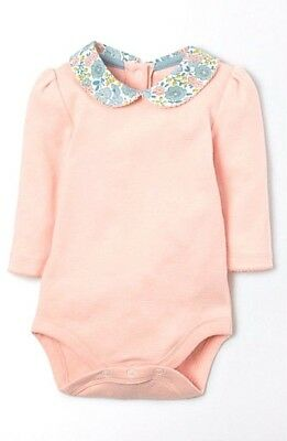 MINI BODEN Baby Girls Pink Body Vest Bodysuit Collared Top £18: 0-3m to 18-24m