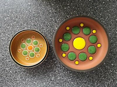 2 1970's hornsea pottery trinket dishes