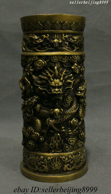 Old Chinese Dynasty Bronze 9 Dragon Loong Beast Brush Pot Pencil Vase Statue
