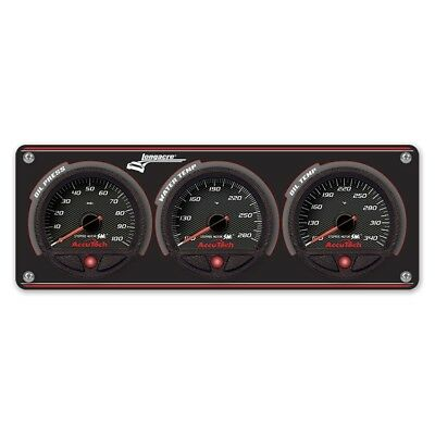 Longacre 44461 3 Gauge Aluminum Panel with AccuTech SMi Gauges - OP,WT,OT