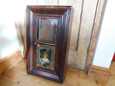 Found*antique American Veneered Mantle/wall Pulley Clock Case With Origina Label