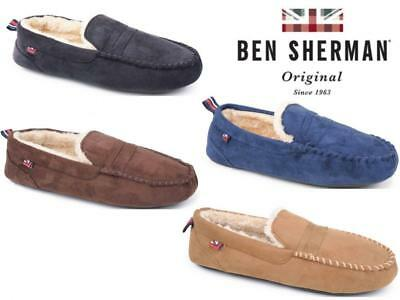 Mens Moccasin Slippers Loafers Ben Sherman Warm Soft Faux Fur Lined 4 Colours