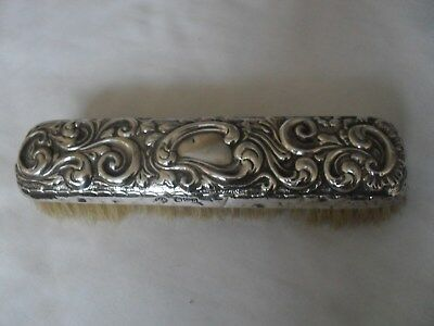 Antique art nouveau solid silver hand clothes brush hallmarked Chester 1899