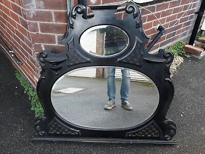 Late Victorian Carved Bevelled Glass Overmantel Overmantle Mirror C.1890