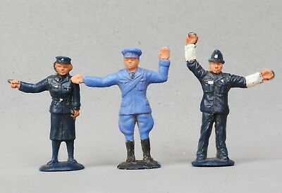 Tri-ang 'Spot-On' Group of 3 x Plastic Painted Figures: 2 POLICEMEN & RAC MAN