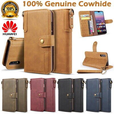 For Huawei P20 Mate 20 Luxury Cowhide Genuine Leather Flip Wallet Case Cover
