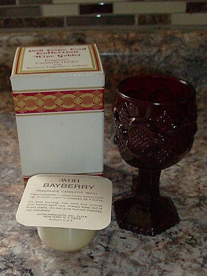 NEW w BOX Avon 1876 Cape Cod Ruby Red Glass Wine GOBLET w/ BayBerry Candlette #2