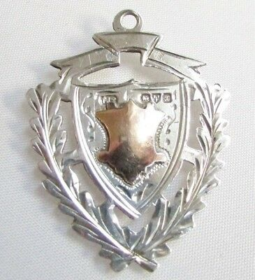 Antique solid silver sterling fob medal gold detail Chester hallmarks 1923