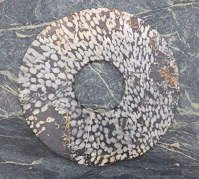 Fine Large Unusual Chinese Speckled Hard Stone Bi Disc Asian Art Great Display!