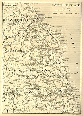 Antique map of Old Northumberland 1920s mounted ready to frame SUPERB