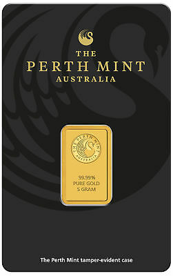 5 gram Perth Mint Gold Bar .9999 Fine in Assay