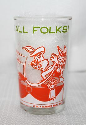 "1974 Vintage Welch's Looney Tunes ""That's All Folks!"" Jelly Jar Tweety On Bottom"