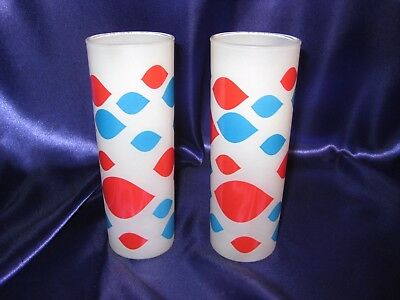 Vintage Original 1960s Dairy Queen Glasses - Set of 2, Frosted GLASS Tumblers