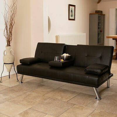 Awesome Black Faux Leather Sofa Bed Modern 3 Seater Settee Futon Z Caraccident5 Cool Chair Designs And Ideas Caraccident5Info