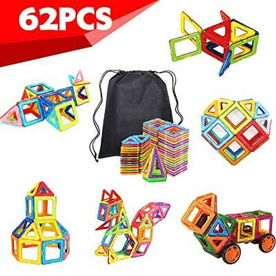 62 PCS Magnetic Blocks- Magnetic Building Blocks Magnet Tiles Toy Set Kit Shapes