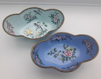 Antique Chinese? Two Trinket Bowls Hand Painted Enamel  On Copper
