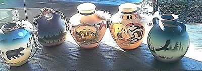 *5* Native American Pots Eagle Bear SOUTHWESTERN REFLECTION COLLECTION PERFECT