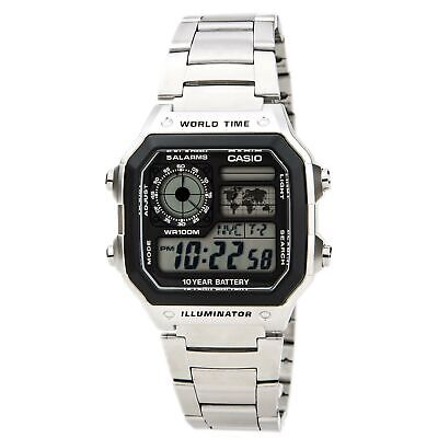 Casio AE1200WHD-1A Unisex Grey Digital Dial World Time Steel Watch
