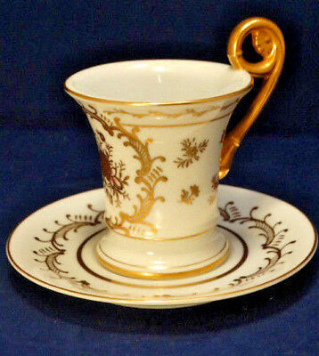 Antique 1800's French Empire Old Paris White & Gold Curled Handle Cup & Saucer