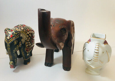 LOT: 3 Antique Lucky Elephant Figurines Wooden Porcelain Jeweled Trunk Up