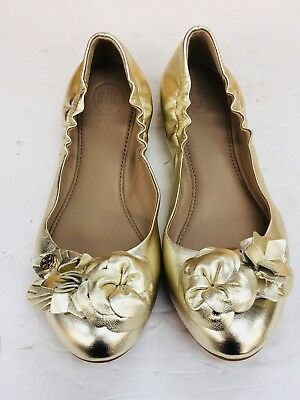 8d8cf0e06a9 NEW TORY BURCH Blossom Floral Spark Gold Leather Logo Ballet Flat Shoes Size  6