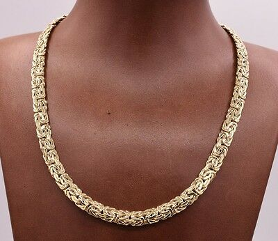 "16"" 7.2mm Wide All Shiny Classic Byzantine Chain Necklace Real 10K Yellow Gold"