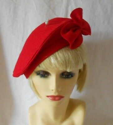 """VINTAGE INSPIRED 1940's 1950's STYLE  RED FELT BERET HAT WW2 LINDYHOP M -XL 24"""""""