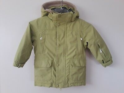 Lands End green front-zip down coat jacket with hood youth size S (4)