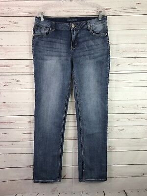 MAURICES WOMENS JEANS SIZE 12 SHORT 32x29 Straight Leg Stretch Distressed