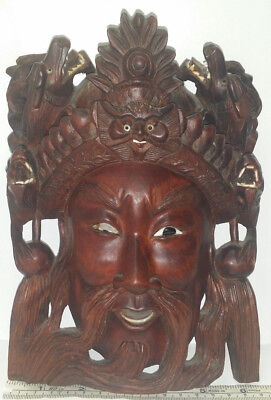 """Vintage Chinese Guan Gong & Dragons Hand Carved Wood / Wooden Mask 8"""" Wall Decor"""