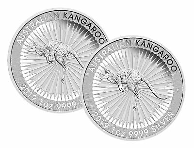 Lot of 2 - 2019 $1 1oz Silver Australian Kangaroo .9999 BU