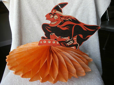 Vintage WITCH ON FLYING SAUCER Beastie Halloween Honeycomb Decoration