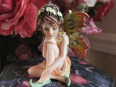 "FAIRY GARDEN miniature 3"" Small Sitting Fairy Figurine with acorn hat NEW in BOX"