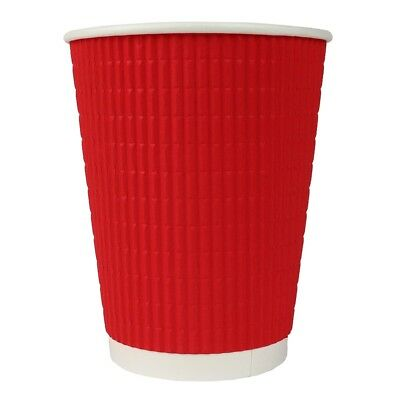 12 oz Paper Coffee Cups - Red Ripple Double Wall - Disposable Hot Drink Cups