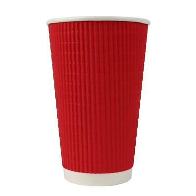 16 oz Paper Coffee Cups - Red Ripple Double Wall - Disposable Hot Drink Cups