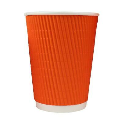 12 oz Paper Coffee Cups - Orange Ripple Double Wall - Disposable Hot Drink Cups