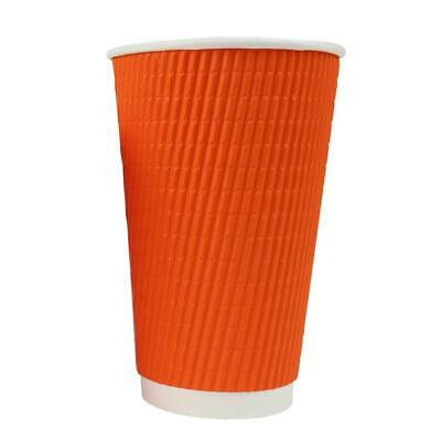 16 oz Paper Coffee Cups - Orange Ripple Double Wall - Disposable Hot Drink Cups