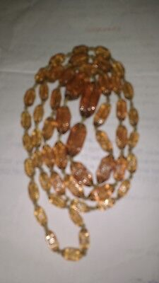 Vintage knotted long clear amber art deco pressed glass bead necklace 1920 1930