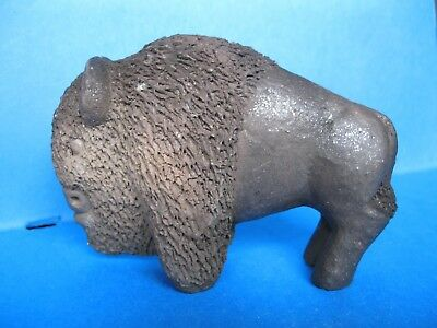 Handmade Micaceous Clay Buffalo Sculpture by Taos Pueblo Artist Fred Lujan Jr.