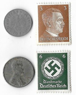 Rare Old WWII WW2 US Germany Eagle Coin Stamp Great World War Collection Lot I13