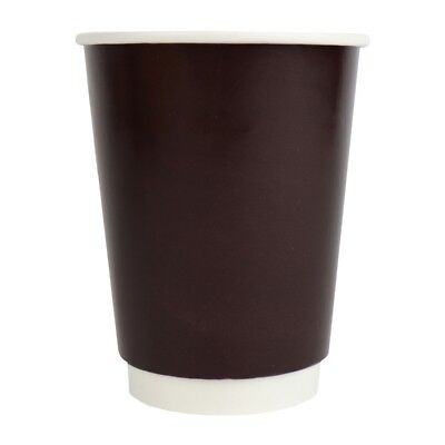 12 oz Paper Coffee Cups - Brown Double Wall - Disposable Hot Drink Paper Cups