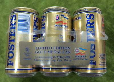#Oo.  Empty Fosters Beer 2000 Sydney Olympic 6-Pack Of Cans