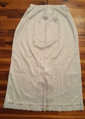 Ashley Taylor White Long Slip with Lace Size Small