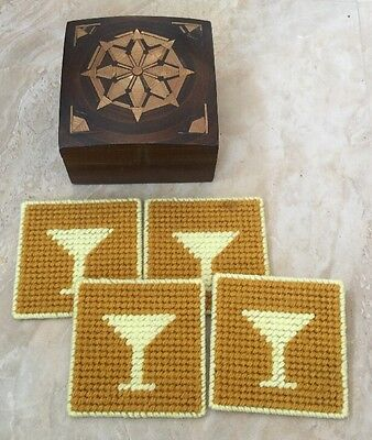 Midcentury Russian Coasters Hand Woven Yellow  Set of 4 in Wooden Box