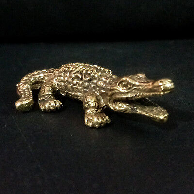 Alligator Crocodile figurine Statue brass Power animal Lucky Wealth Rich DAH